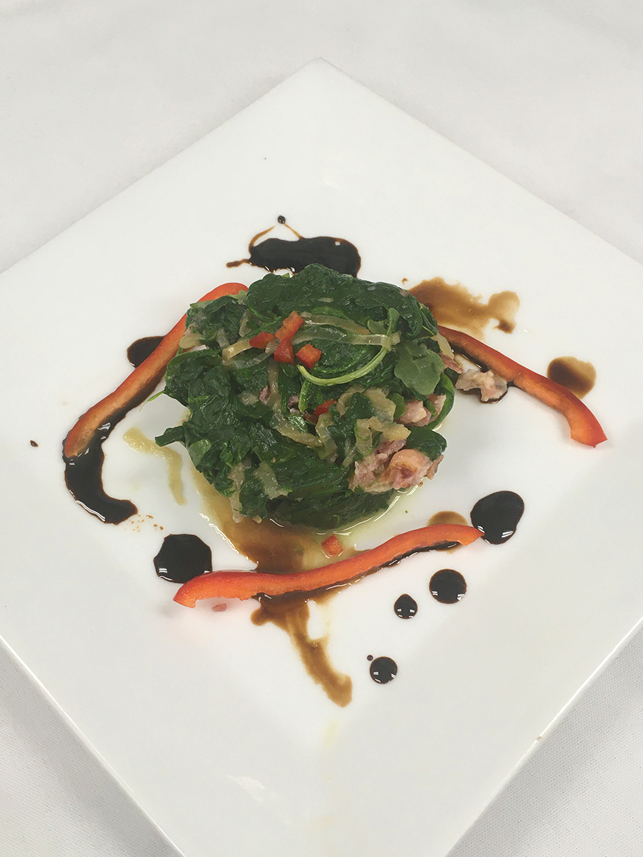 Collard Greens with Bacon, Onions and Messina Hof Primitivo